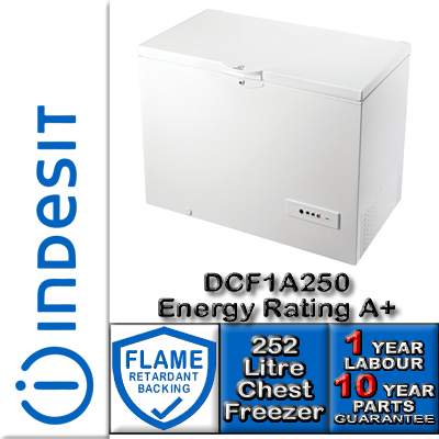 The Indesit DCF1A 250.1 Chest Freezer in White